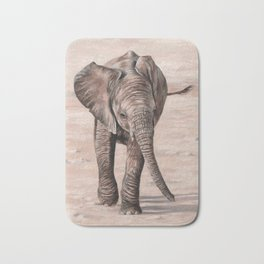 African Elephant Calf Painting Bath Mat