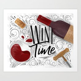 Wine time white Art Print