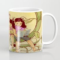 fairy tale Mugs featuring Fairy Tale by Radical Ink by JP Valderrama