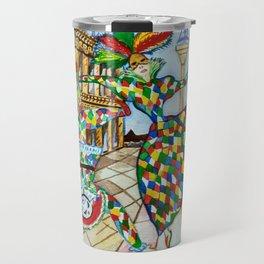 Arlecchino and Colombina. Carnival of Venice. Travel Mug