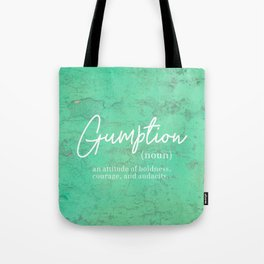 Gumption Definition - Word Nerd - Turquoise Texture Tote Bag