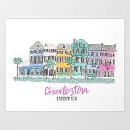 Charleston Rainbow Row Art Print