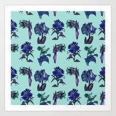 Botanical Flower Pattern | Blue Art Print