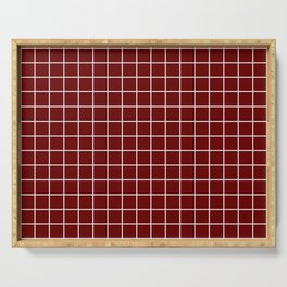 Blood red - purple color - White Lines Grid Pattern Serving Tray