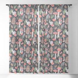 Toadstools and Pine - Dark Sheer Curtain