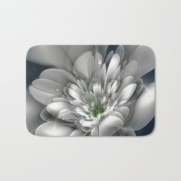 3D White Flower Bath Mat