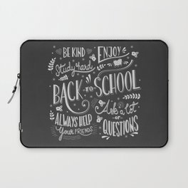 Back to school typography drawing on blackboard with motivational messages, hand lettering Laptop Sleeve
