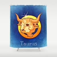 taurus Shower Curtains featuring taurus by Mariedesignz
