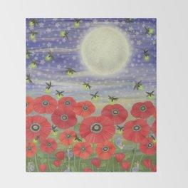 moonlit poppies, fireflies, and snails Throw Blanket