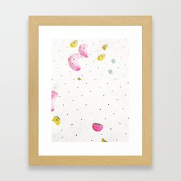 Geometric abstract free climbing bouldering holds white minimal pink Framed Art Print