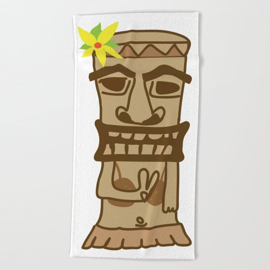 Hippie Island Tiki Dude Beach Towel