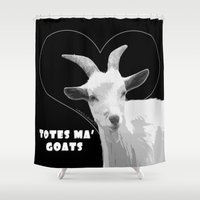 totes Shower Curtains featuring Totes Ma Goats - Black by BACK to THE ROOTS