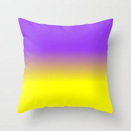 Neon Purple and Neon Yellow Ombré  Shade Color Fade Throw Pillow