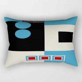 Abstract in Blue, Black, Red and Beige. See Companion Piece Rectangular Pillow
