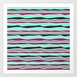 Geometrical mauve violet teal gray forest green stripes Art Print