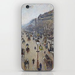 Camille Pissarro  -  Boulevard Montmartre  Morning  Cloudy Weather iPhone Skin