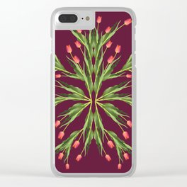 Burgundy and tulips Clear iPhone Case