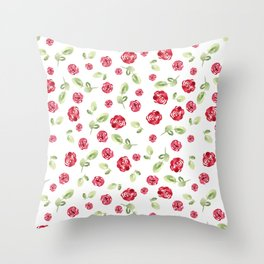 Red Roses Watercolor // Hand Painted // Watercolor Roses and Leaves Throw Pillow