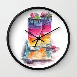 Unicorn rainbow drink watercolor Wall Clock
