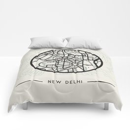 New Delhi Abstract City Map Comforters