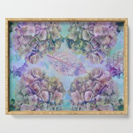 Watercolor hydrangeas and leaves Serving Tray