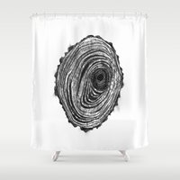 tree rings Shower Curtains featuring Tree Rings - Dark by Emily Swedberg (Ito Inez)