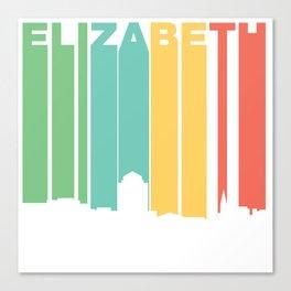 Retro 1970's Style Elizabeth New Jersey Skyline Canvas Print