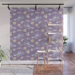 Toucans Oranges Tropical Violet Background Pattern Wall Mural