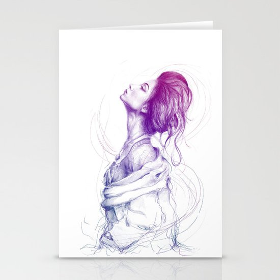 Beautiful Woman Lady Portrait Fashion Art Stationery Cards