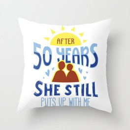 Golden Wedding Fifty Years Marriage Anniversary Wife Husband Gift Throw Pillow
