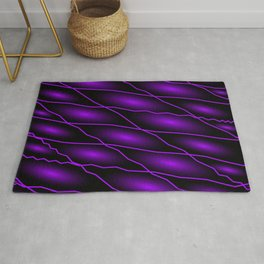 Slanting repetitive lines and rhombuses on dark violet with intersection of glare. Rug