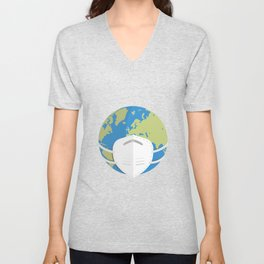 Planet Earth using a face mask Unisex V-Neck