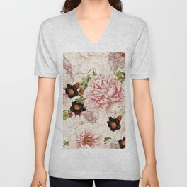 Vintage Peony and Ipomea Pattern - Smelling Dreams Unisex V-Neck