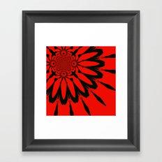 Modern Flower Red & Black Framed Art Print