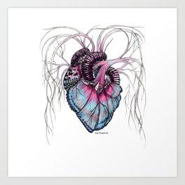 Butterfly Heart Blue Art Print
