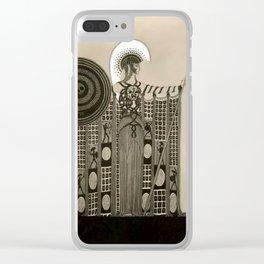"Art Deco Sepia Illustration ""Athena"" Clear iPhone Case"