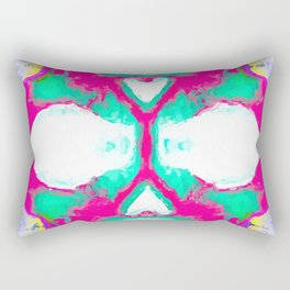 smiling pink skull head with blue and yellow background Rectangular Pillow