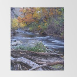 Mountain river. After raining. Night photography. Throw Blanket