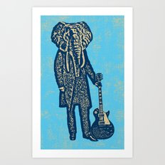 Elephant Guitar Player Art Print
