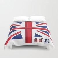union jack Duvet Covers featuring Union Jack Flag by Tonio YUMUI
