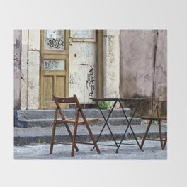 Coffee time in Catania on the Isle of Sicily Throw Blanket