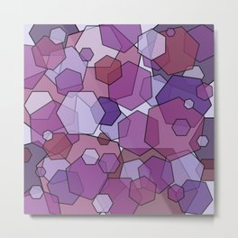 Converging Hexes - Mauve Pink and Purples Metal Print
