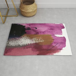 Comfort: a pretty abstract mixed media piece in gray, purple, red, black, and white Rug