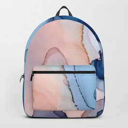 Saphire soft abstract watercolor fluid ink painting Backpack