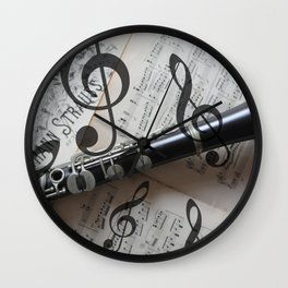 clef music notes white black clarinet Wall Clock