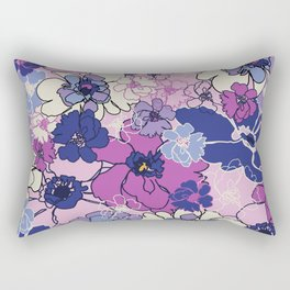 Red Violet and Navy Anemones Rectangular Pillow