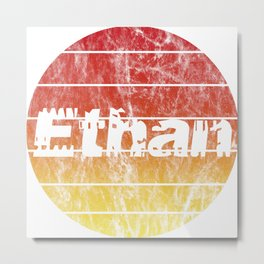 Name Ethan in the sunset vintage sun Metal Print
