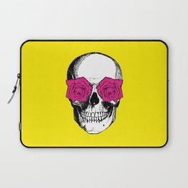 Skull and Roses | Skull and Flowers | Vintage Skull | Yellow and Pink | Laptop Sleeve