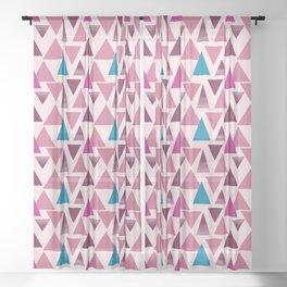 Fuchsia triangles surface pattern Sheer Curtain