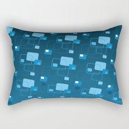 Space age retro modern blue square decorator pattern Rectangular Pillow